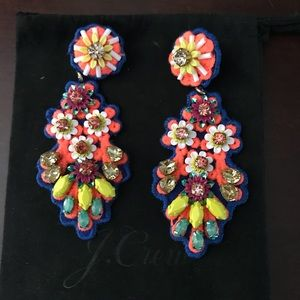 J. Crew statement neon fabric back earrings